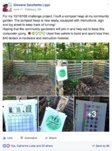 composting bins in a community garden
